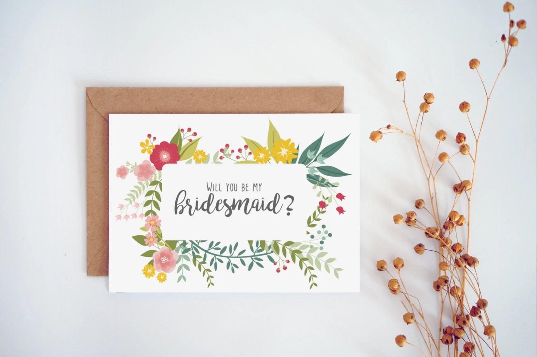 Will you be my bridesmaid card Printable bridesmaid card Etsy