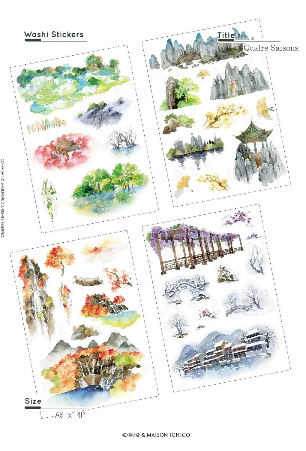 Journal Decoration Maison 2 4 Sheets Of Washi Stickers Four Seasons Edition Niwa Bullet Journal Diary Decoration