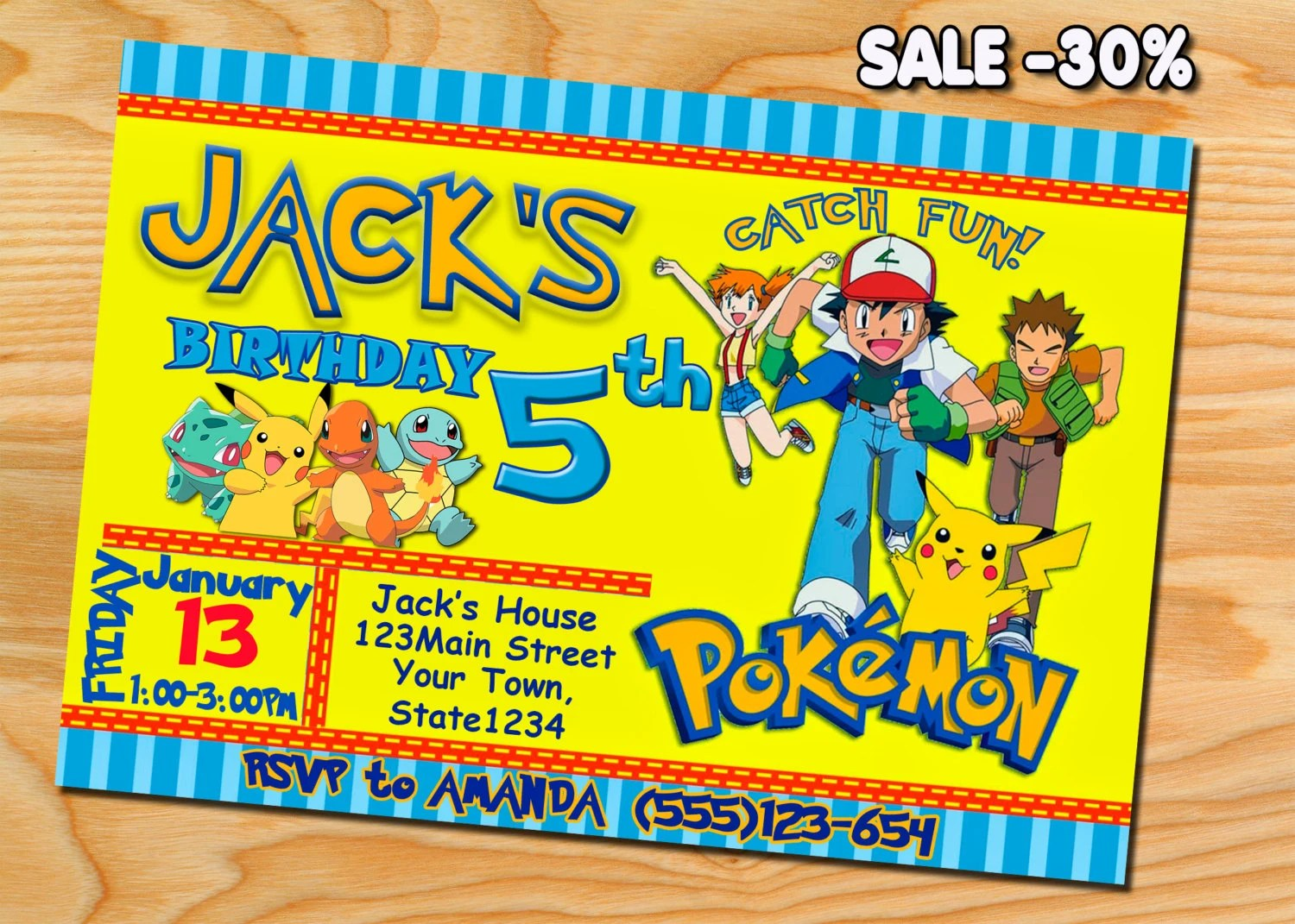 Pokemon Birthday Pokemon Invitation Pokemon Party Pokemon Etsy