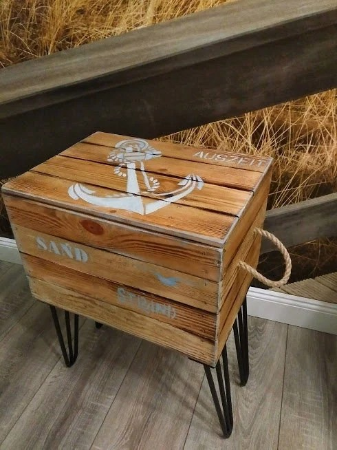 Couchtisch Maritim Wooden Chest With Hairpins Hairpin Legs Table Side Table Anchor Coffee Table Maritim Crate Lid Storage Sea Water Wooden Crate Jute