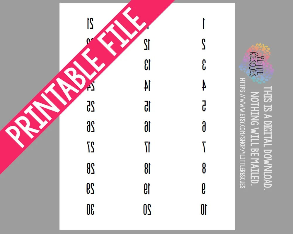 Forward AND Reverse/Mirror Image Labels Tags Numbers 1-500 Etsy