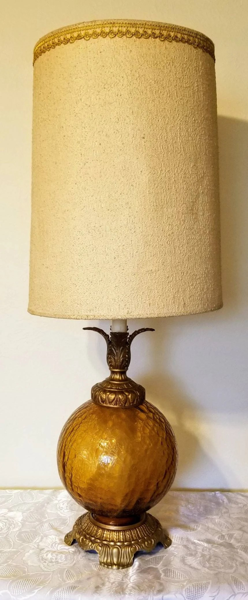 Glass Crackle Lamp Hollywood Regency Amber Crackle Glass Table Lamp