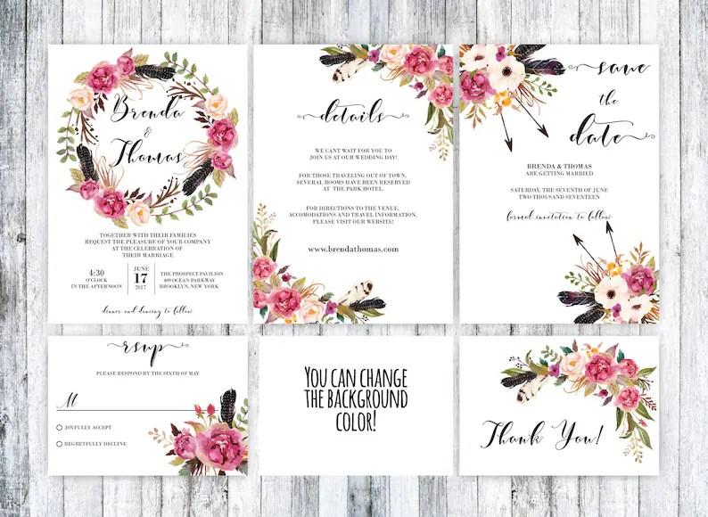 Boho boda conjunto invitación boda Boho boho para imprimir Etsy