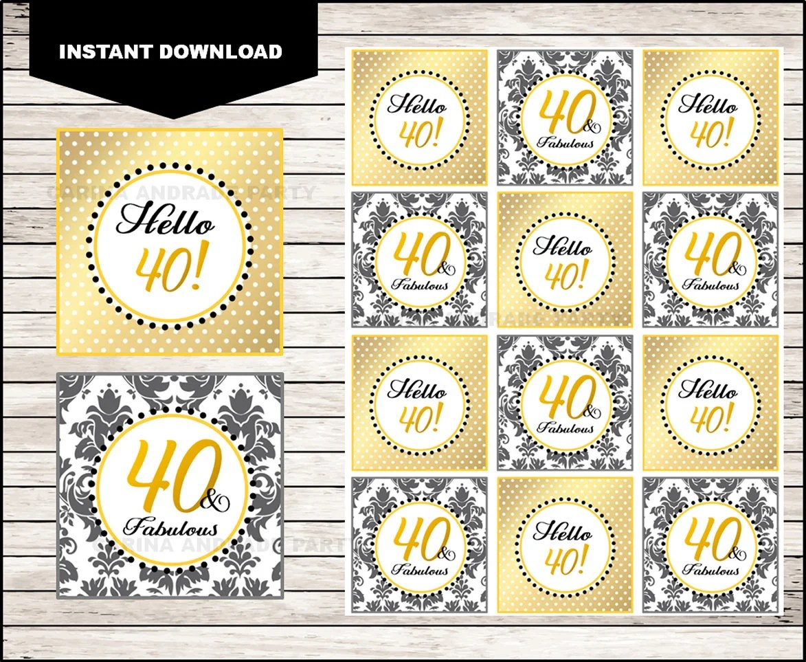 40th Birthday Printable Cupcake toppers Sticker labels and Etsy
