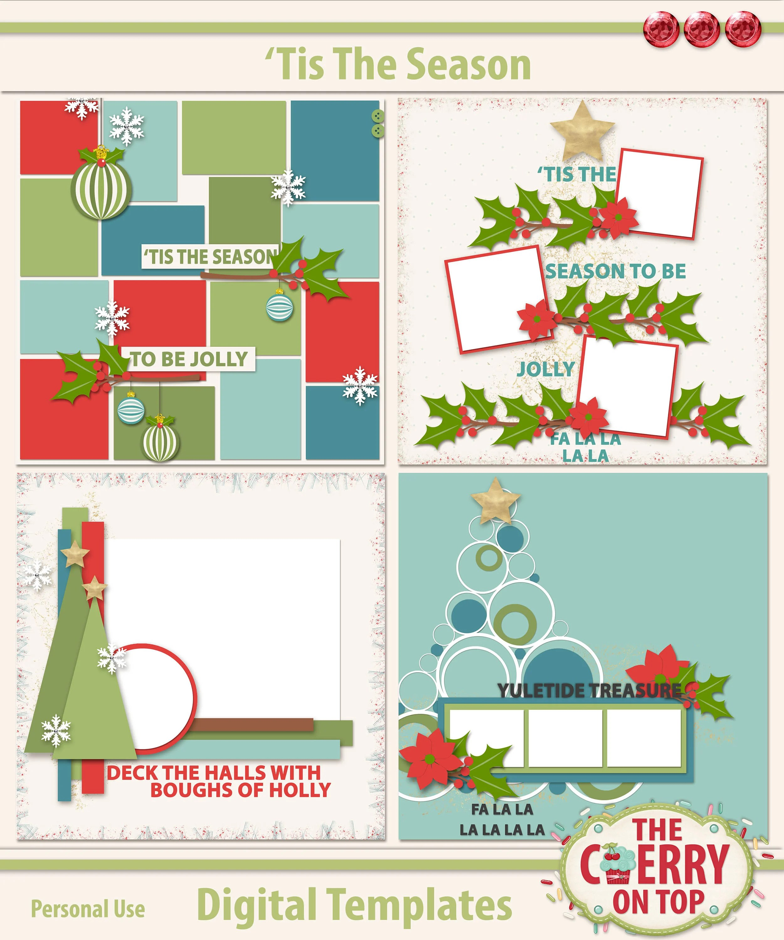 Tis The Season Digital Scrapbooking Templates Etsy