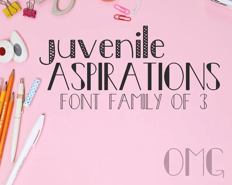 Juvenile Aspirations Font Family of 3 OTF TTF Personal Etsy