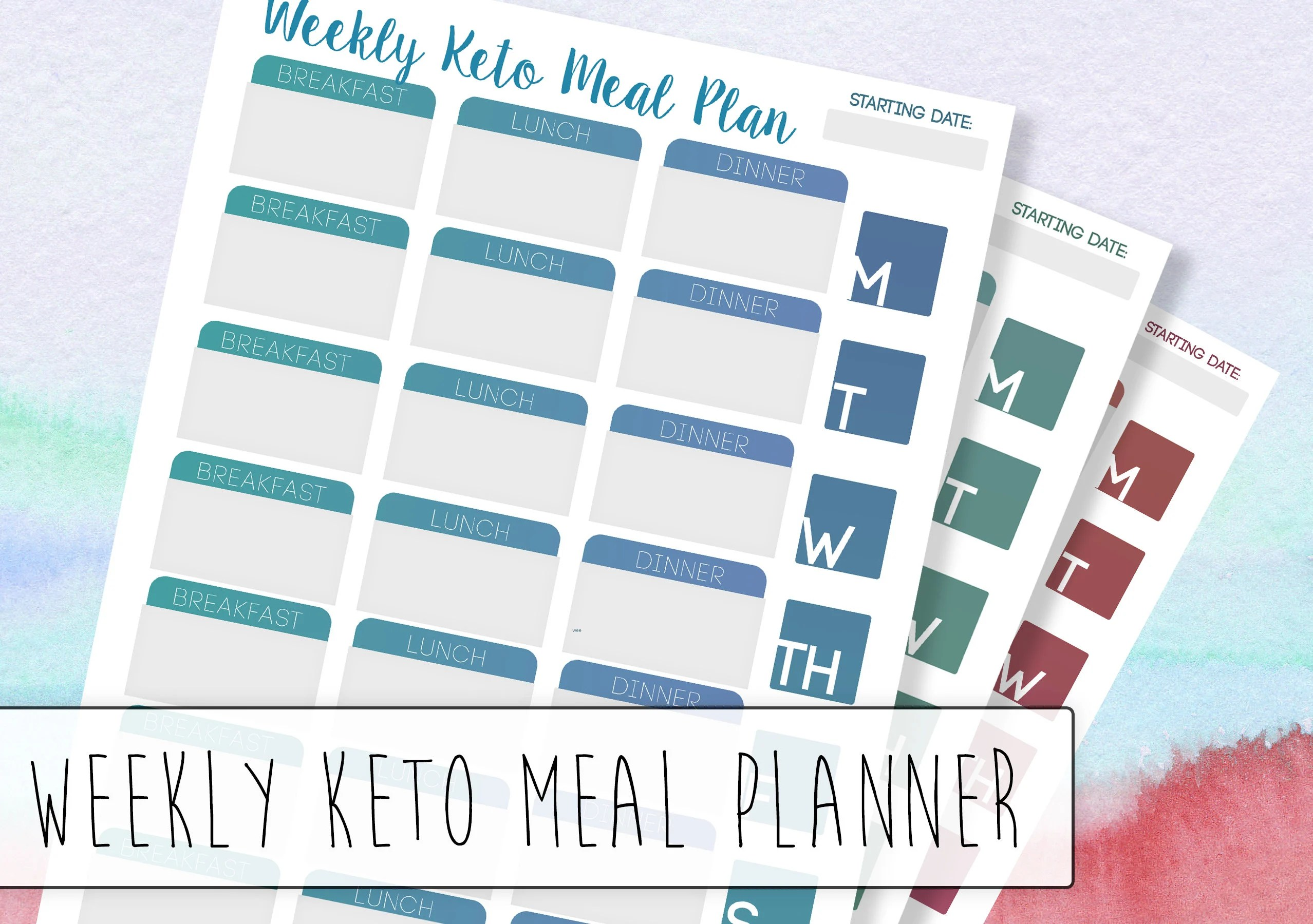 Weekly Keto Meal Planner A low carb / keto tracker that Etsy