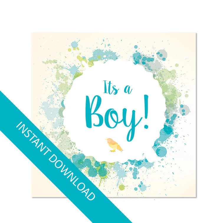 Its a boy card Baby shower card printable card pdf and jpg Etsy