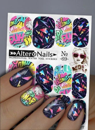 Moderne Nageldesign Nr 69 Moderne Graffiti Wasser Wraps Nageldesign Sticker Aufkleber