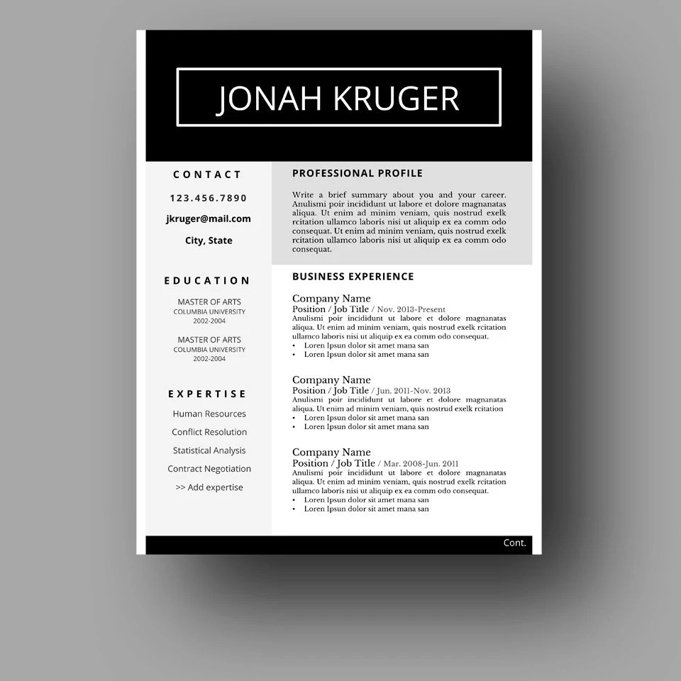 Modern Masculine Resume Template Two Page Cover Letter Etsy