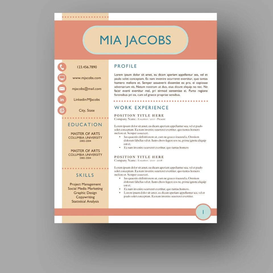 Totally Unique Resume Template Stand Out Resume Two Page Etsy