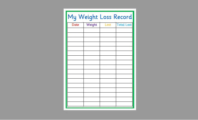 Printable Weight Loss Record Slimming World Weight Etsy