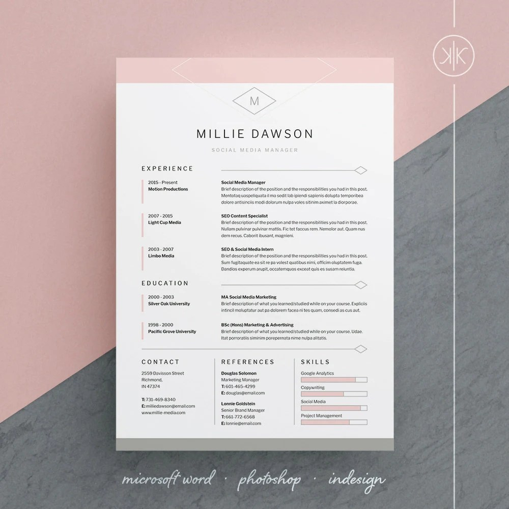 Millie Resume/CV Template Word Photoshop InDesign Etsy