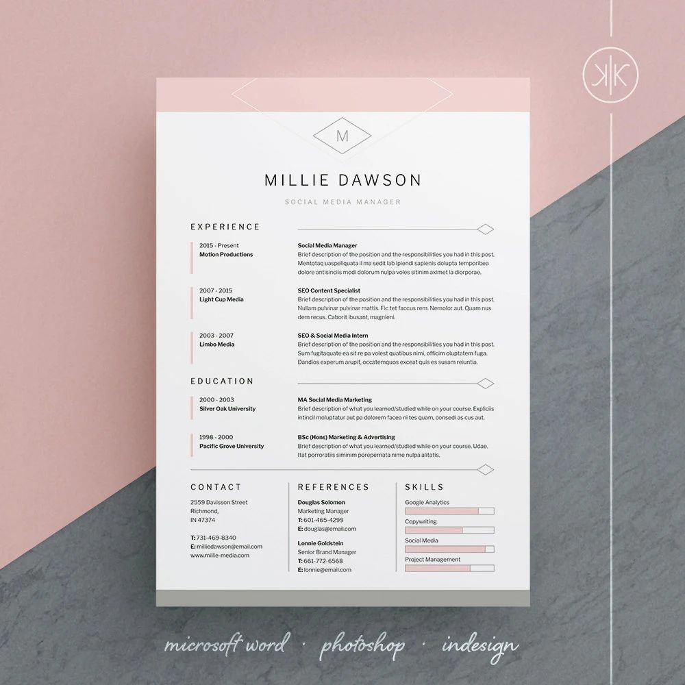 cv template adobe indesign
