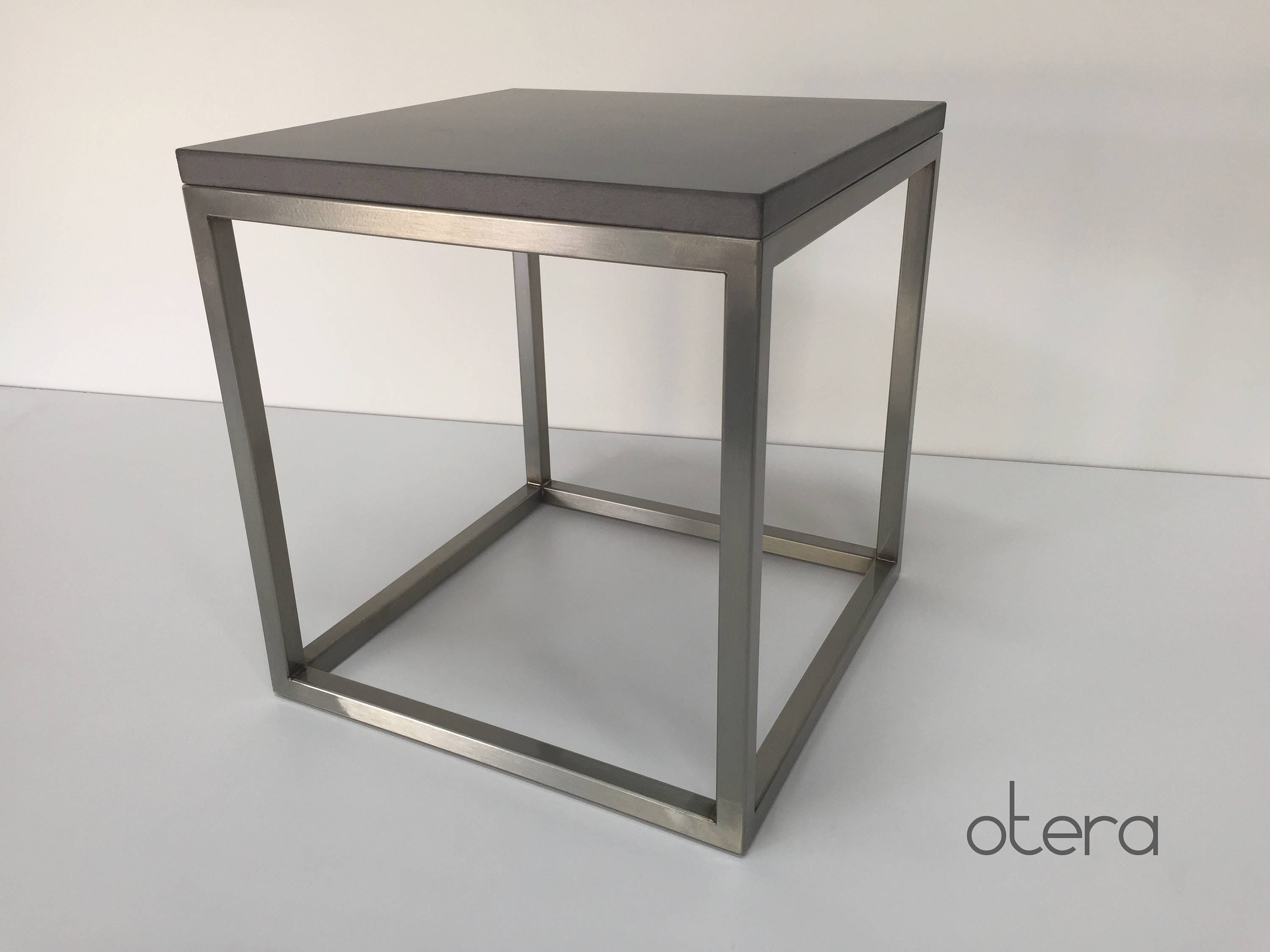 Couchtisch Cubic Concrete Stainless Steel Occasional Table Coffee Table In Anthracite Otera