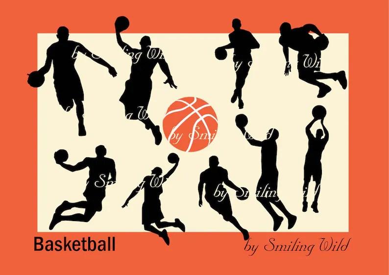 Basketball svg clipart black sport silhouette print vector Etsy