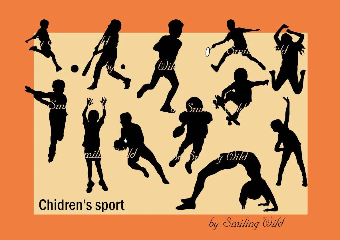 Childrens sport svg kid\u0027s gym silhouette print child Etsy