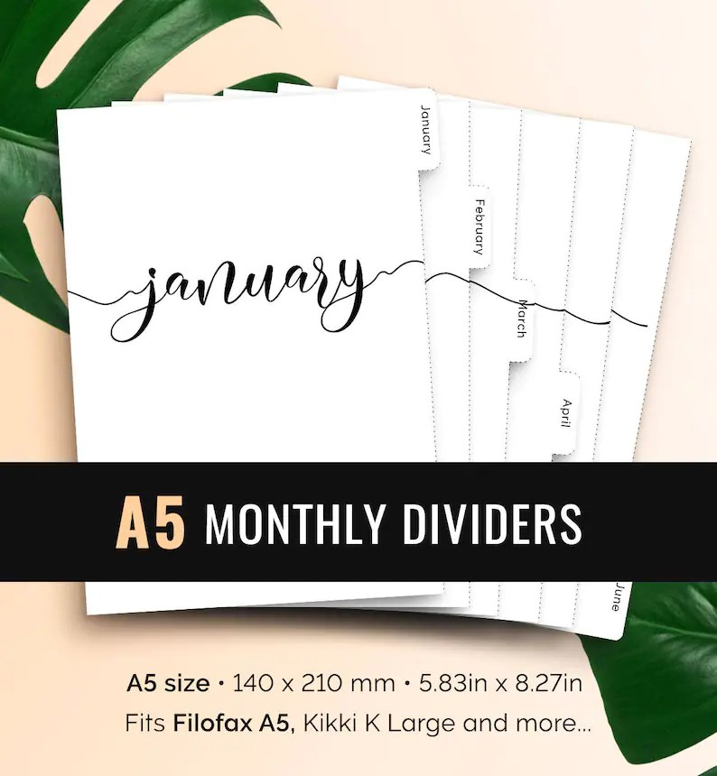 A5 Monthly Planner Dividers Printable Tabbed Filofax Monthly Etsy