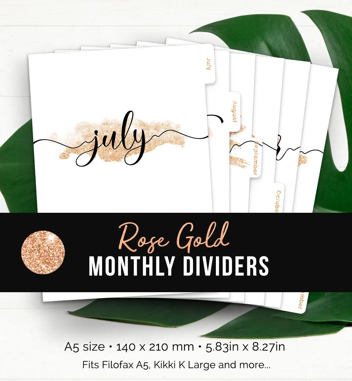 Rose Gold Monthly Planner Dividers Printable Tabbed Filofax Etsy