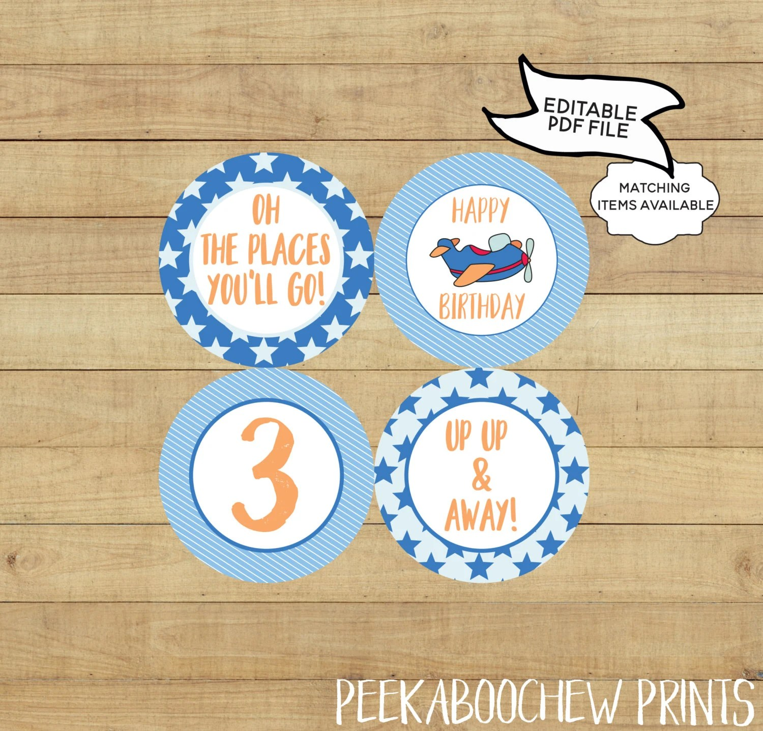 Airplane Party Cupcake Toppers Editable Printable World Etsy