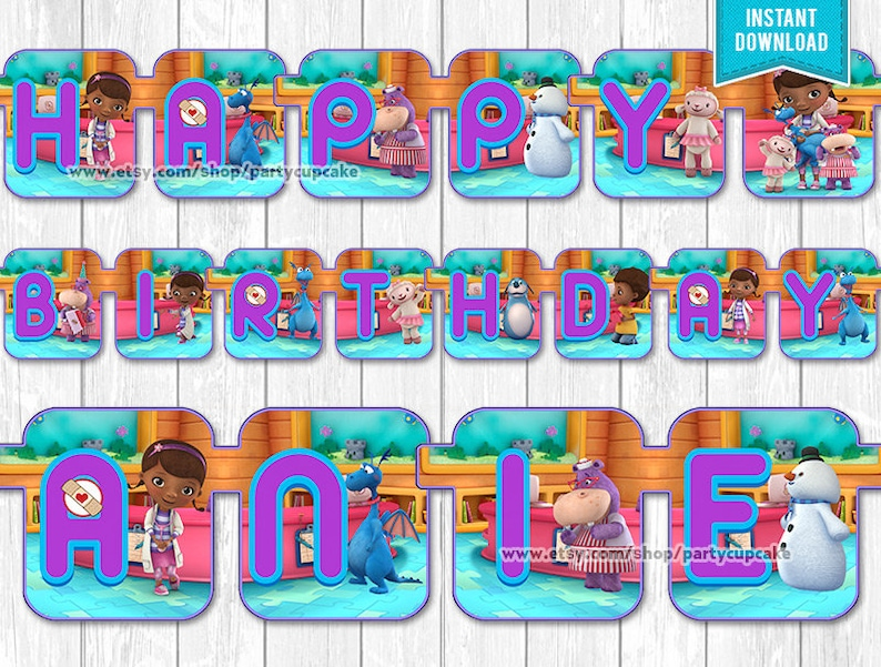 Doc McStuffins Happy Birthday Banner Child Name Banner Etsy
