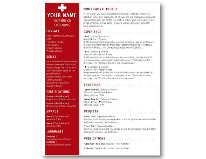 Nurse Resume Template RN CV Template Instant Download Etsy