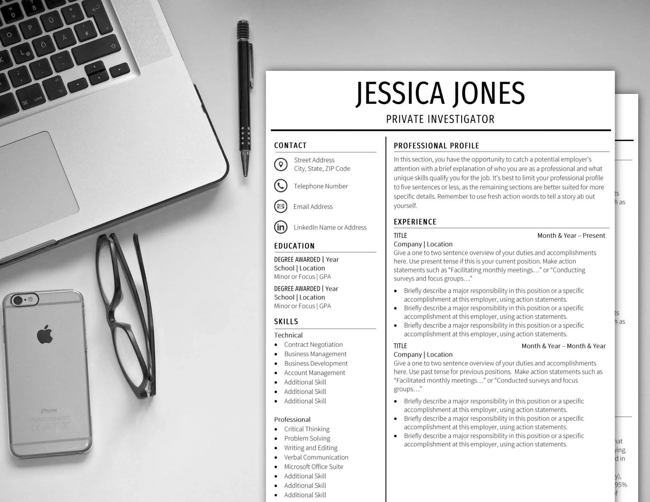 Resume Template 1 Page 2 Page CV Template Cover Letter Instant Etsy