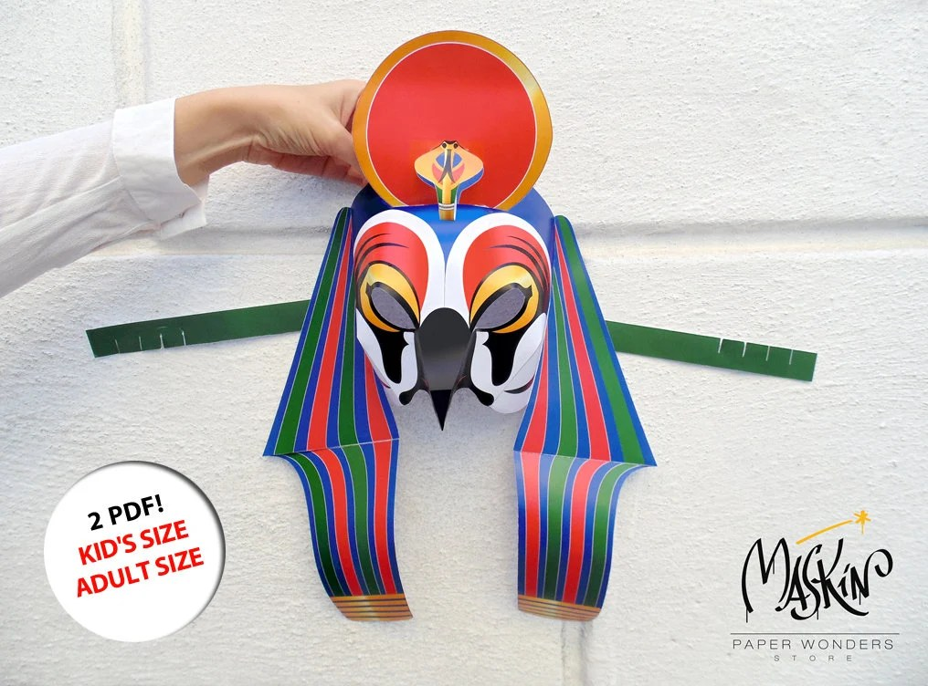 Ra mask PRINTABLE pattern Egyptian god mask Egyptian paper Etsy