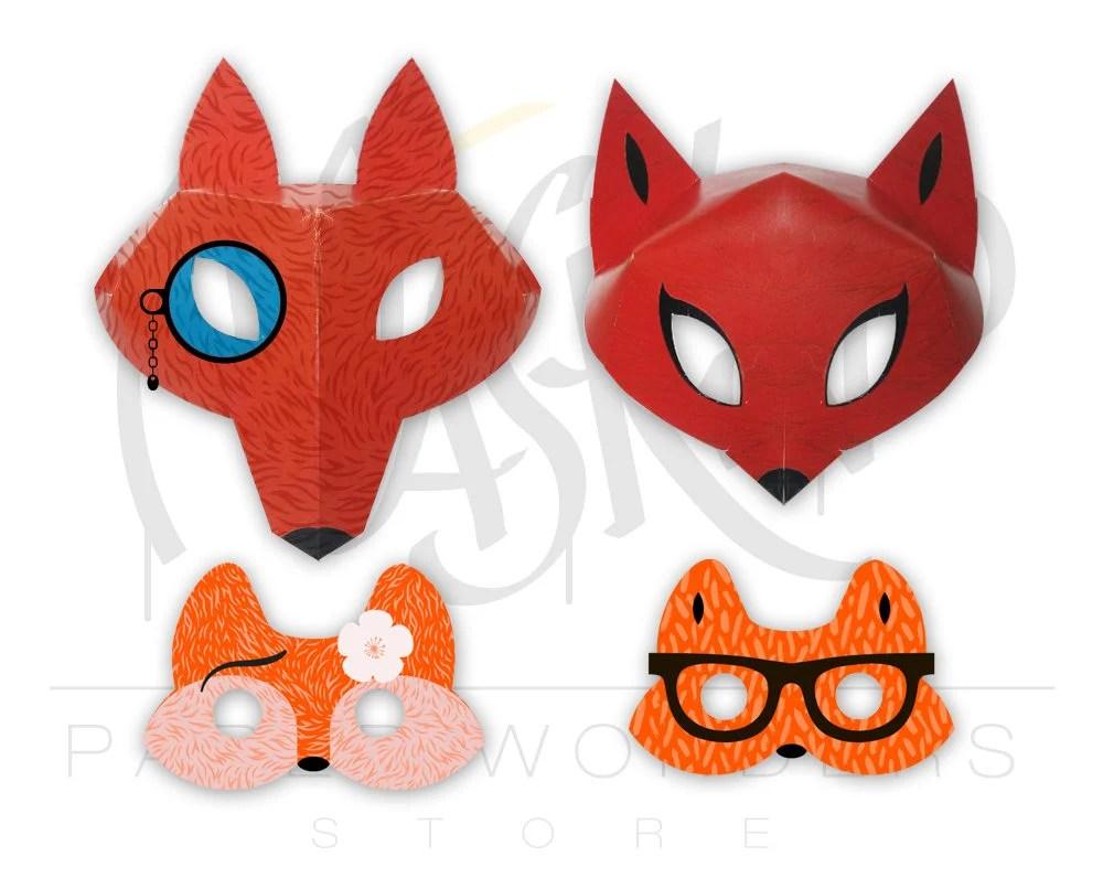 Fox mask PRINTABLE Fox masquerade mask Couple masks Fox Etsy