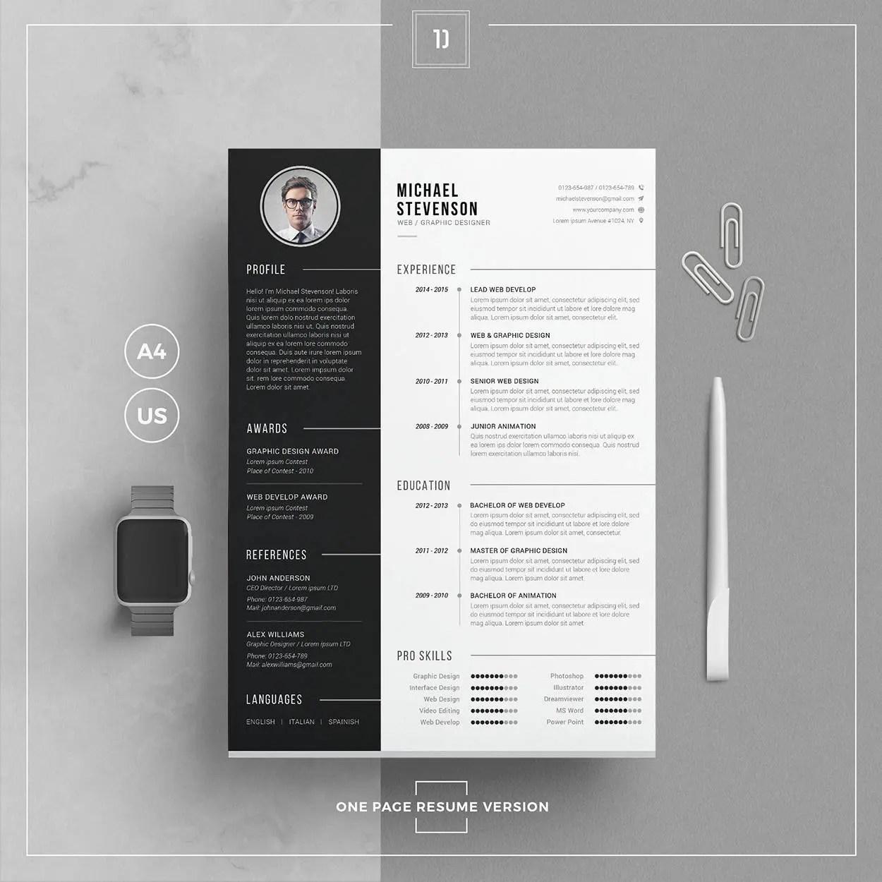 Modern Resume Template/CV Template Cover Letter Word Etsy