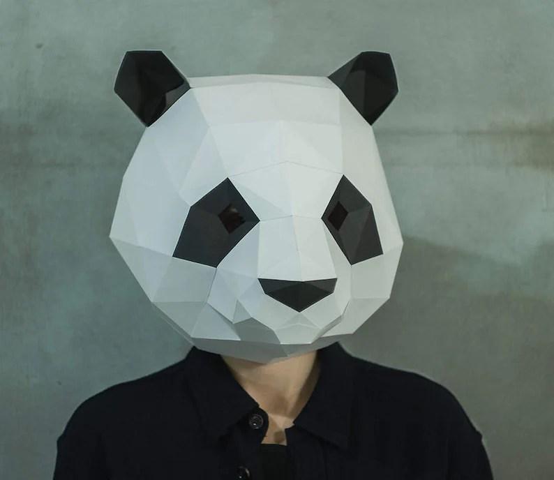 Make Panda MaskDIY 3D maskPDFPattern maskPolygon Paper Etsy
