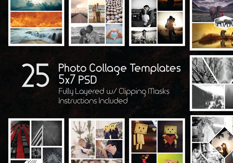 5x7 Photo Collage Template Pack 25 PSD Templates Photoshop Etsy