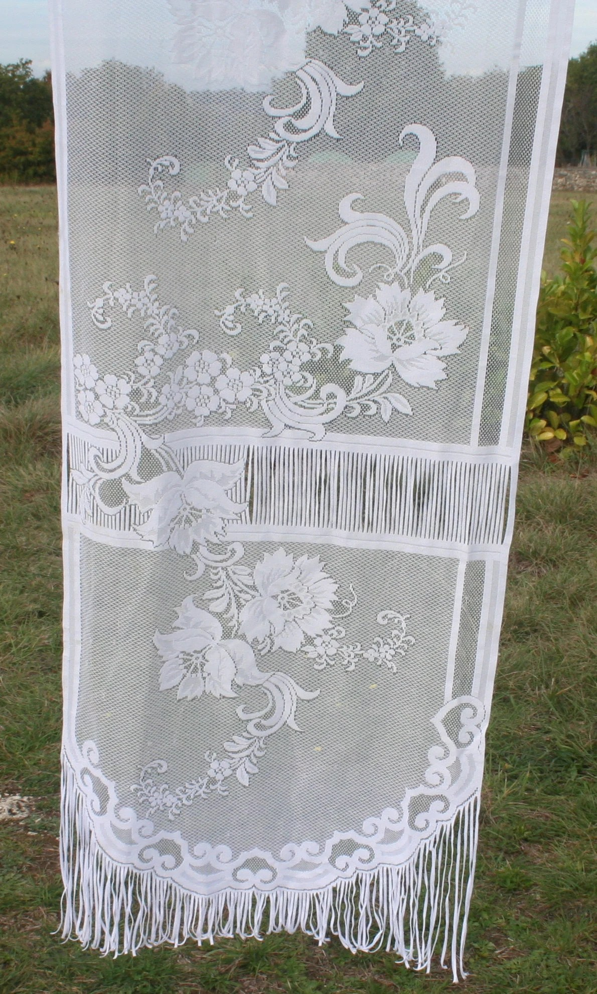 French Lace Curtains French Lace Curtain White Long Curtains Floral Garden Vintage Sheer Bohemian Shabby Chic