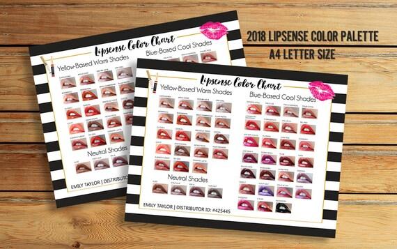 LipSense Color Chart 50 LipSense Colors Lipsense Color Etsy