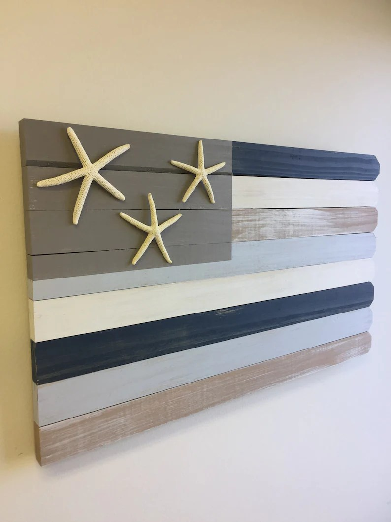 Nautical House Decor Wood Beach Flag Nautical Beach Decor Beach House Gift Coastal Decor Wood Beach Sign Rustic Wood Flag Lake House Sign Coastal Decorating