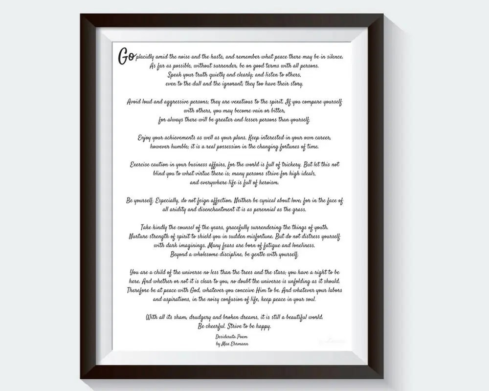 Desiderata Desiderata Poem Favorite Poems Best Loved Poems Etsy