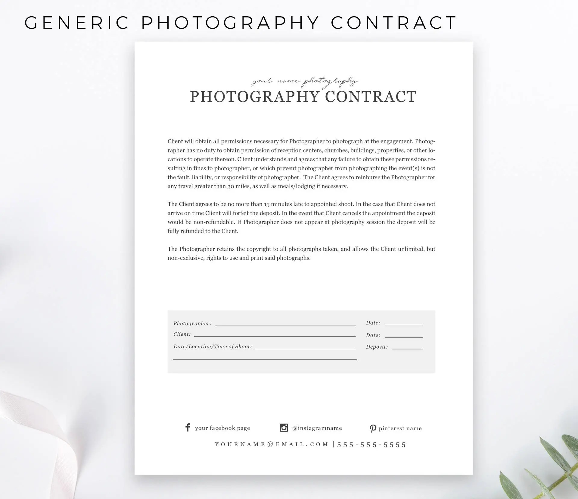 Simple Photography Contract General Form Contract psd  Etsy