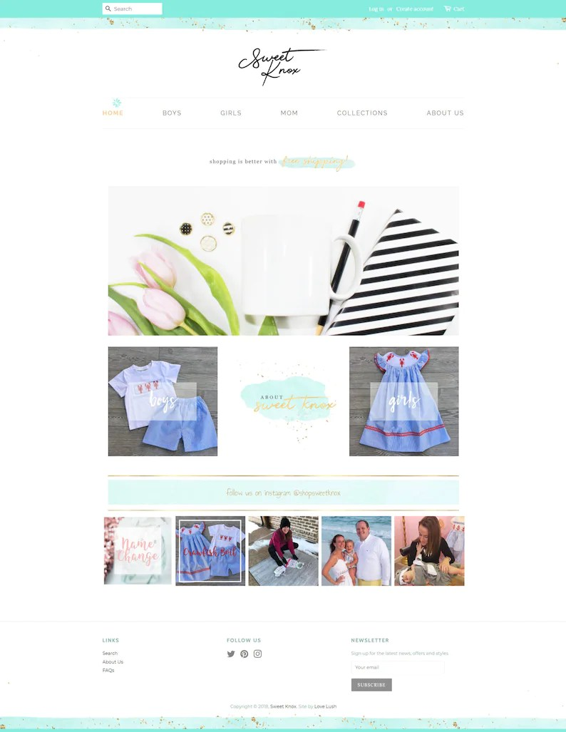 In Shop Online Store Custom Shopify Theme Design Ecommerce Boutique Shop Online Store Event Wedding Planner Rentals Party Photography Web Design Layout