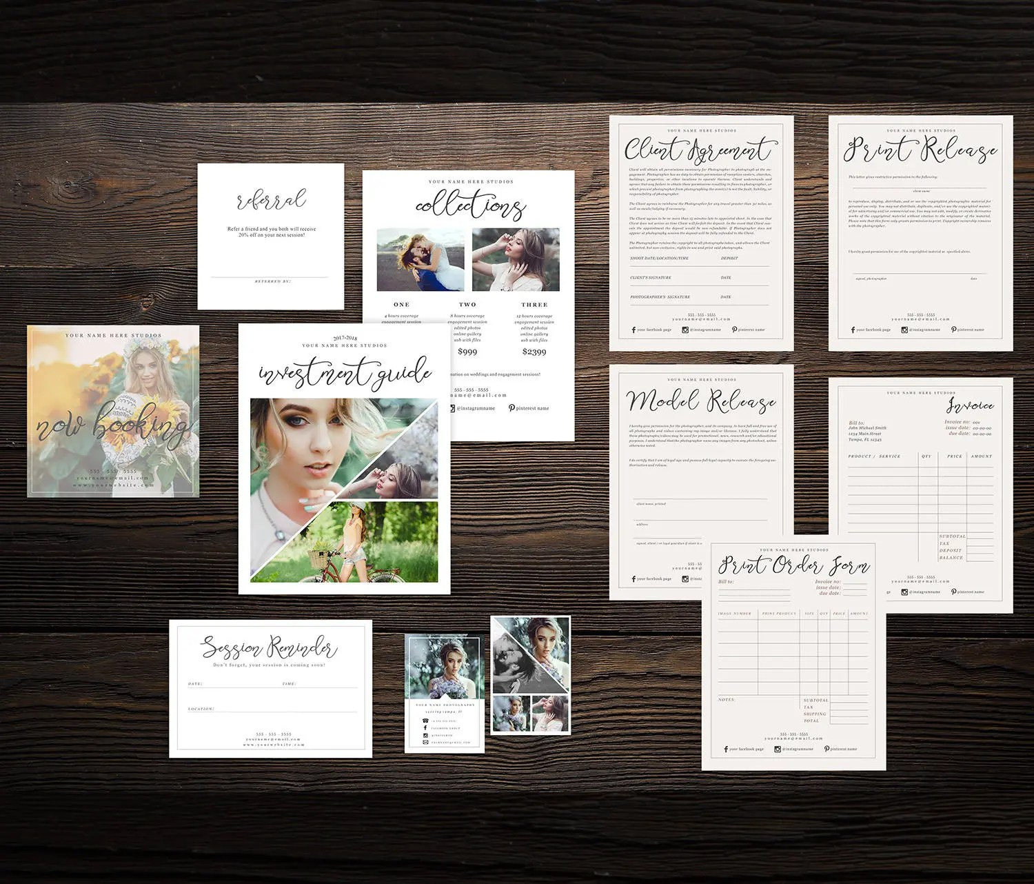 Photography Template Bundle word  psd Business Card Etsy