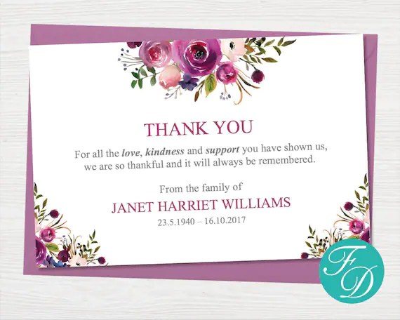 Funeral thank you notes Printable funeral thank you cards Etsy