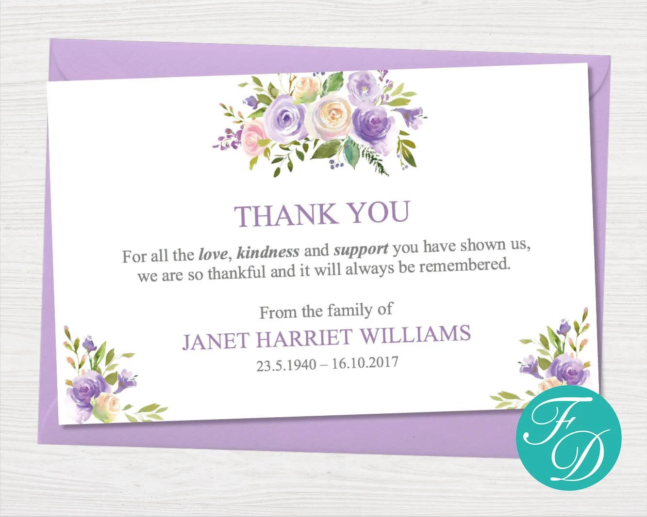 Lilac Floral Funeral thank you card Printable Sympathy card Etsy