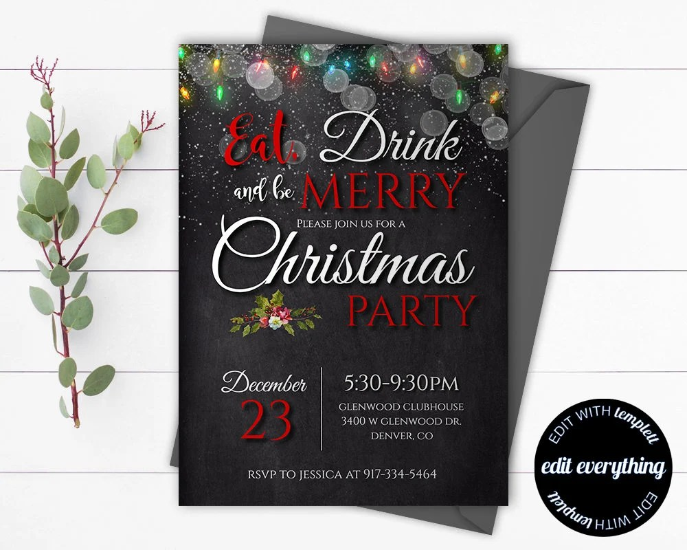 Christmas Party invitation template - Printable Christmas Invitation