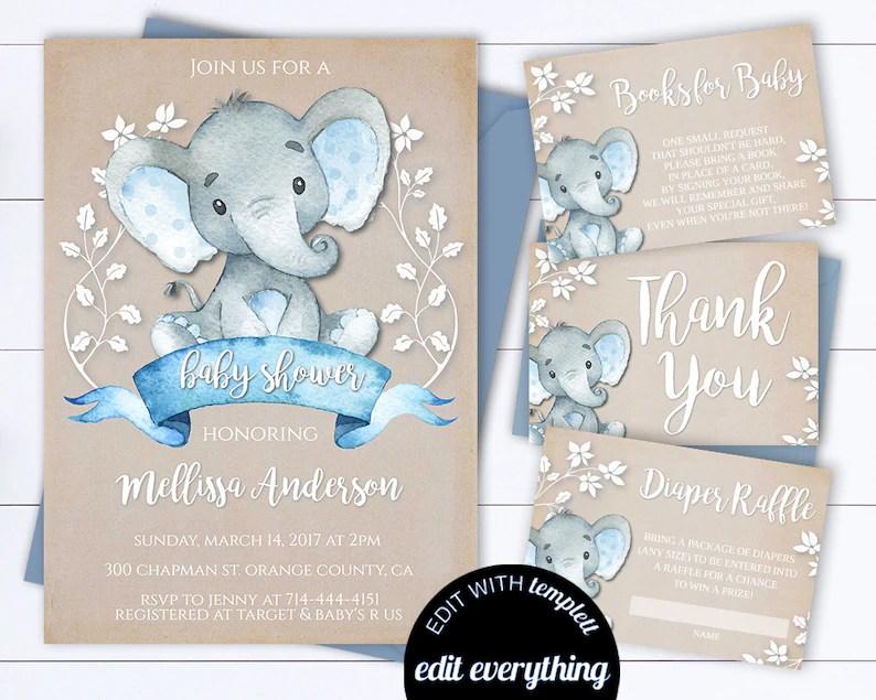 Kraft Elephant Baby Shower Invitation Boy Baby Shower Invite Etsy