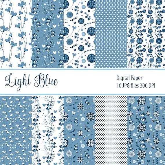 Blue Paper Pack Floral Digital Paper Floral textures Retro Etsy