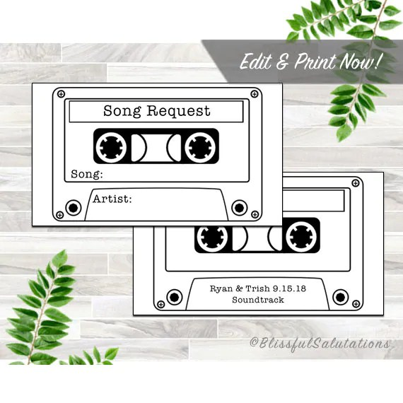 Printable Song Request Card - Wedding Party - Instant Download