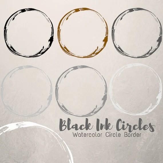 Black ink circle doodle frame ink circle borders scrapbook Etsy