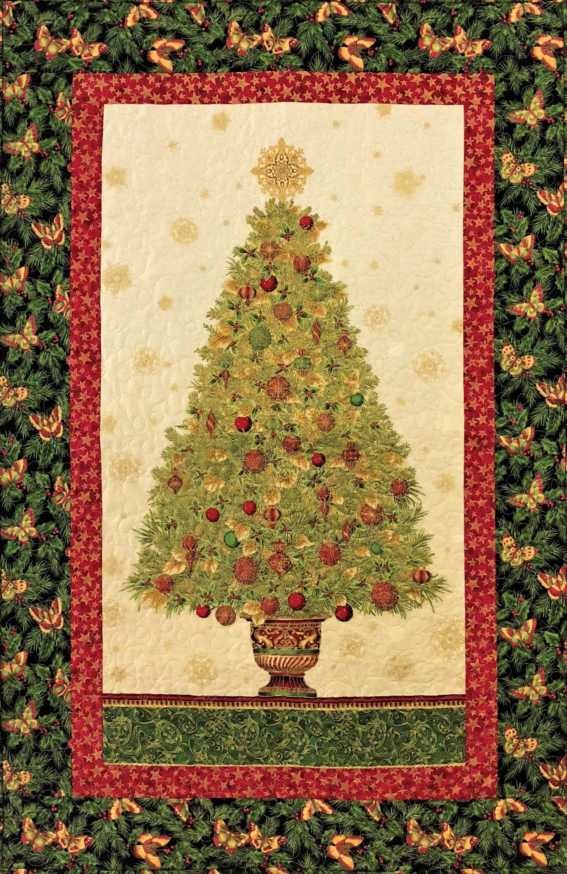 Pinterest Christmas Quilted Wall Hangings Christmas Tree With Butterflies Quilted Wall Hanging