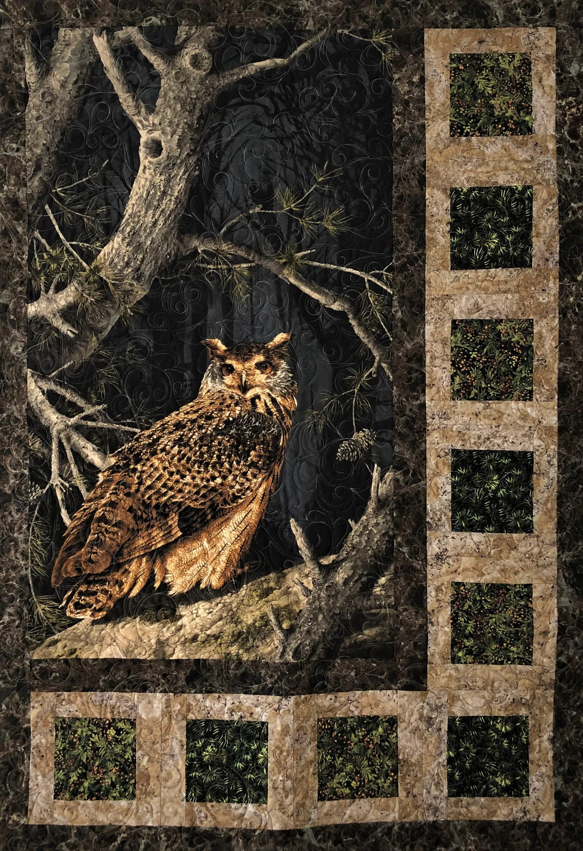 Pinterest Christmas Quilted Wall Hangings Great Horned Owl In A Tree Quilted Wall Hanging