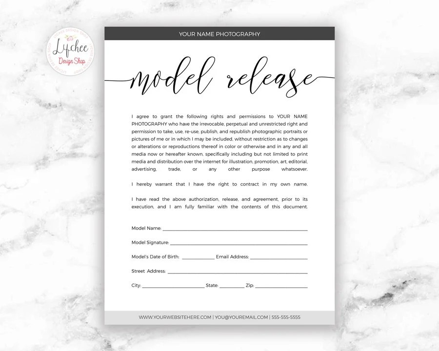 Model Release Form Template Script Font 85x11 Printable Etsy