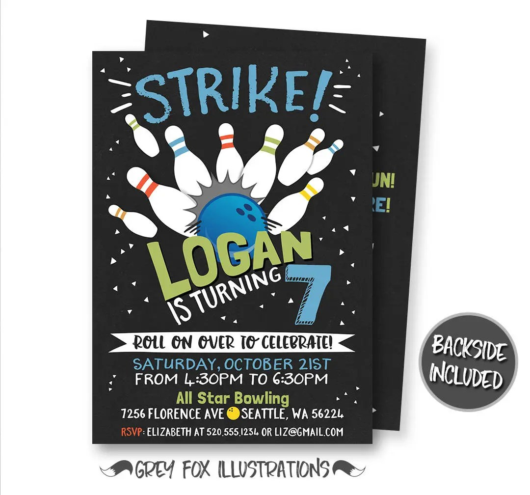 Bowling Birthday Invitation Bowling Invitation Bowling Etsy